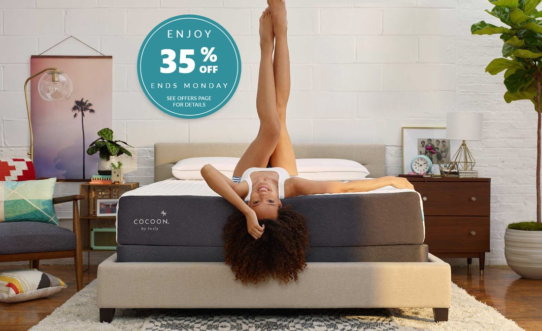 Girl laying on Chill mattress with badge showing 35% off until Monday