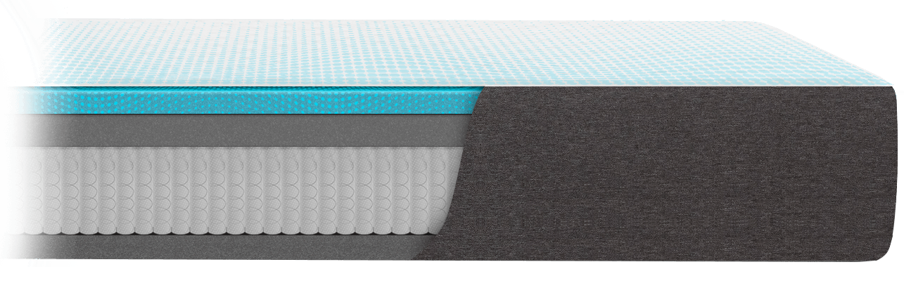 The layers inside the Cocoon Extra-Chill Hybrid mattress